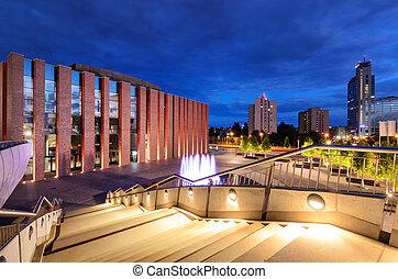 Katowice in the evening. Night city
