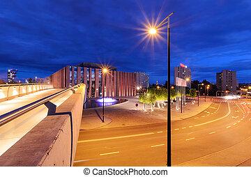 Katowice in the night. Night city.
