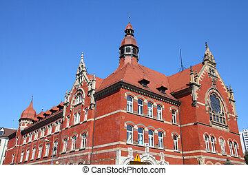 Katowice, Poland - high school building, old landmark