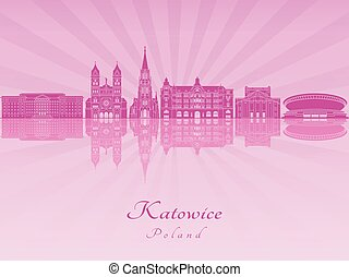 Katowice skyline in purple radiant orchid