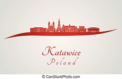 Katowice skyline in red