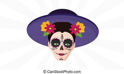 katrina, chapeau, célébration, mexicain, utilisation