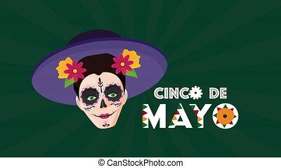 katrina, chapeau, cinco, célébration, de, mexicain, utilisation, mayonnaise