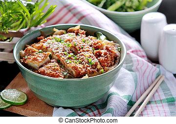 katsudon, ciotola, giapponese, piatto, pietanza, pollo, riso