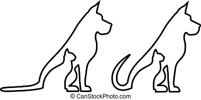 katt, komposition, hund