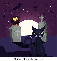 katt, måne, scen, svart, kyrkogård
