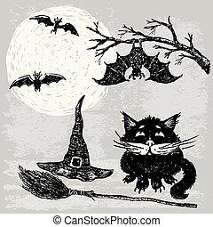 katt, natt, svart, halloween