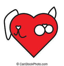 katt, och, hund, in, hjärta, komposition
