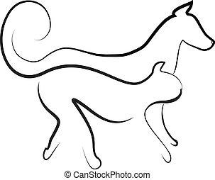 katt, och, hund promenera, tillsammans, logo