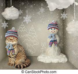 katt, och, snögubbe
