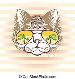katt, sungl, stående, kylig, rolig
