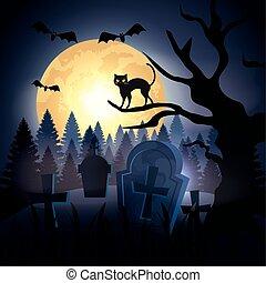 katt, träd, halloween, kyrkogård, över, torka