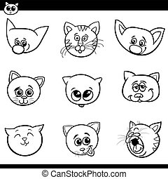 katte, hoveder, cartoon, samling, kittens