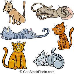 katte, sæt, søvnige, cartoon, glade