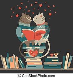 katter, bok, kärlek, läsning