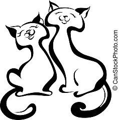 katter, kärlek, lycklig