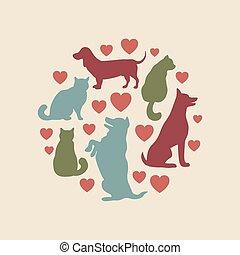 katter, och, hundkapplöpning, vektor, silhuett, runda, komposition