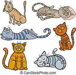 katter, sätta, sömnig, tecknad film, lycklig