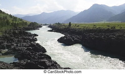 katun, montagnes, courant, rapide, rivière