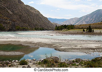 Amazing Mountain Altai landscape with river Katun