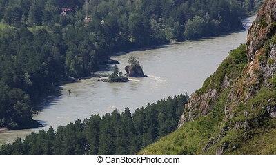 Katun River from Mount Bloody Finger in Altai Krai. Russia.