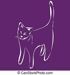 katz, abbildung, auf, violett, backgrou