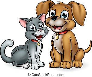 katz, haustiere, karikatur, charaktere, hund