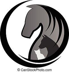 katz, hund, logo, pferd
