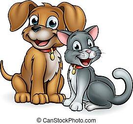 katz, karikatur, hund, haustiere