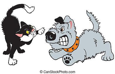 katz, karikatur, hund, kämpfen