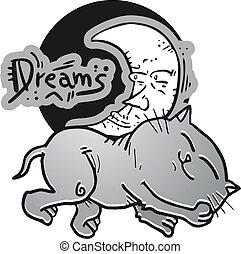 katz, lieb, träume