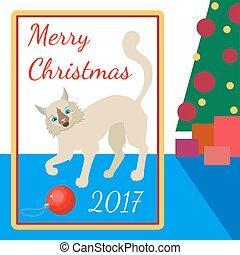 Weihnachtsbaum Spiele.Baum Spielzeug Spiele Weihnachten Katz Spielzeug Vektoren