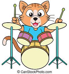 katz, spielen trommeln, karikatur