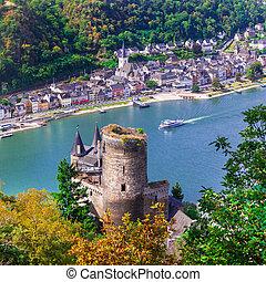 katz, st.goar, .view, rivière, romantique, ville, rhein, château, beau