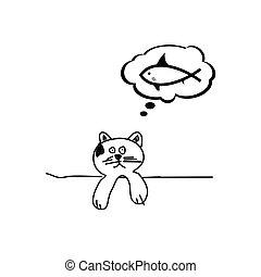 katz, traum, fische, karikatur, vektor, abbildung