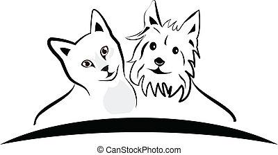 katz, und, hund, logo, vektor