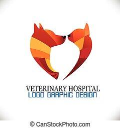 katz, vektor, hund, logo, bild