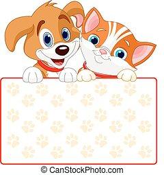 katz, zeichen, hund