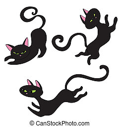 katzen, schwarz, drei