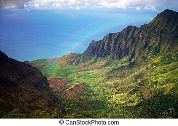kauai, 해안선, fron, 자형의 것, 공중 전망, 와, 무지개