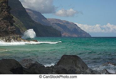 kauai's, napali, береговая линия