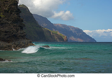 Kauai's Breathtaking Napali Coastline with crashing waves.