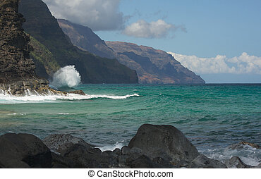 kauai's, napali, kusten