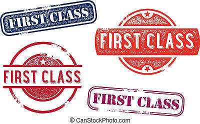 kauczukowa pieczęć, klasa, znaki firmowe, pierwszy