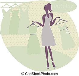kaufen, frau, kleiden