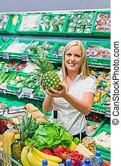 kaufen, gemuese, frau, früchte