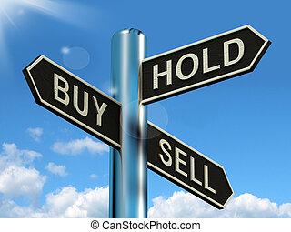 kaufen, halten, und, verkaufen, wegweiser, darstellen,...