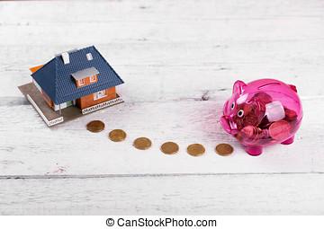 kaufen haus, daheim, spareinlagen, oder, anlageobjekt, begriff