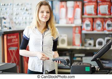 kaufen, oder, assistent, kassierer, verkauf, verkäufer, hardware, kredit, annehmen, zahlung, karte