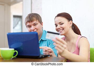 kaufen, paar, laptop, online
